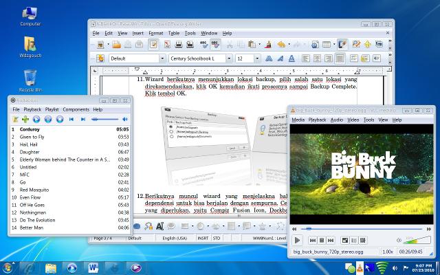 Desktop GNOME BlankOn 6.0 rasa Windows 7