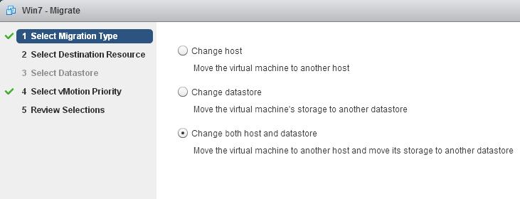 Enhanced vMotion, Pilihannya Aktif Saat Menggunakan vSphere Web Client
